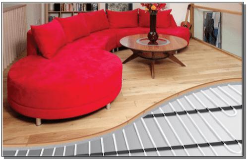 Riscaldamento a pavimento su sala di casa