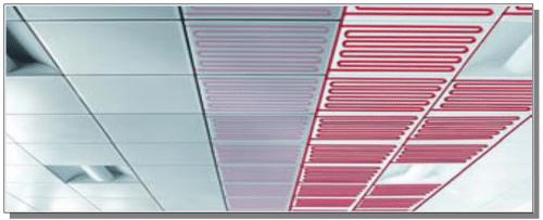 Esempio di pannelli radianti a soffitto installati