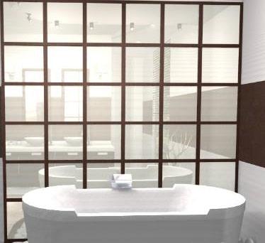 Foto di vasca con specchio divisorio su bagno ristrutturato