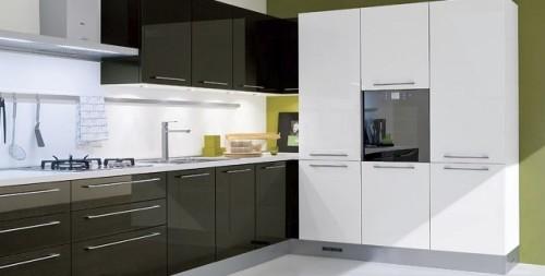 Esempio di cucina moderna color verde e bianco