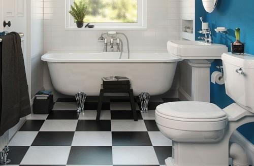 Foto di bagno con pavimento a scacchi