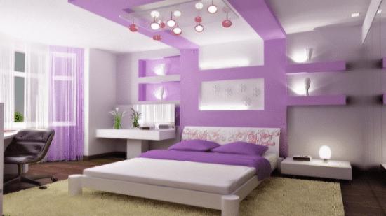 Spettacolare camera color lilla su casa appena ristrutturata