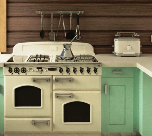 Piano cucina in stile vintage su casa da ristrutturare