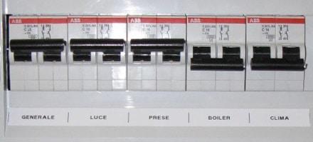 Quadro elettrico con vecchi interruttori su casa da ristrutturare