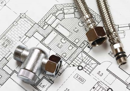 Impianto idraulico con progetto e pezzi idraulici
