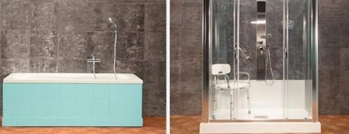 Trasformazione vasca in doccia prima e dopo