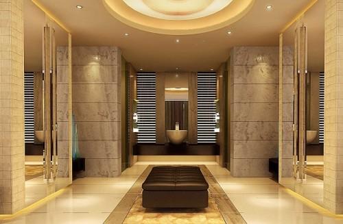 Bagno moderno super lusso con specchi e poltrona inclusa