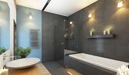 Bagno in stile moderno con vasca da bagno