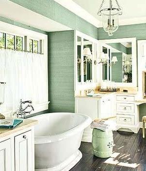 Bagno in stile shabby chic color verde mare
