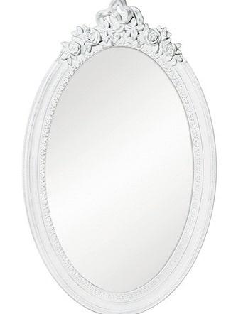 Specchio shabby con cornice colo bianco