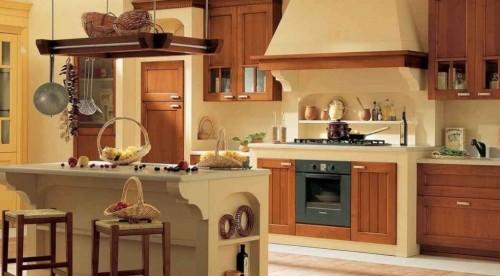 cucina in muratura stile country con isola