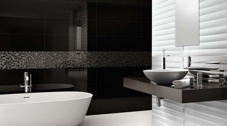 bagno moderno. Bagno moderno nero e bianco