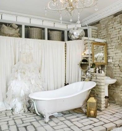 bagno moderno stile vintage muratura