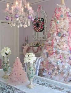 albero di natale shabby bianco e rosa