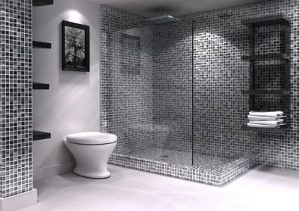 bagno mosaico grigio