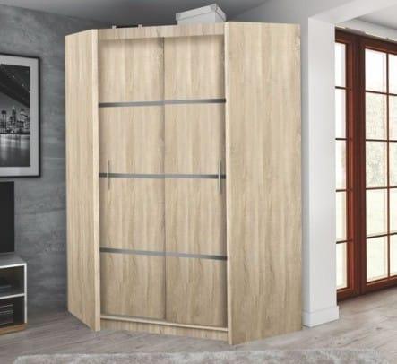 Un armadio angolare in legno.