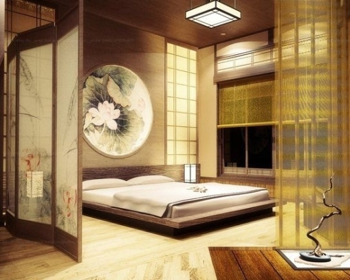 Una camera da letto in stile zen.