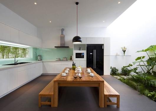 Una cucina in stile zen.