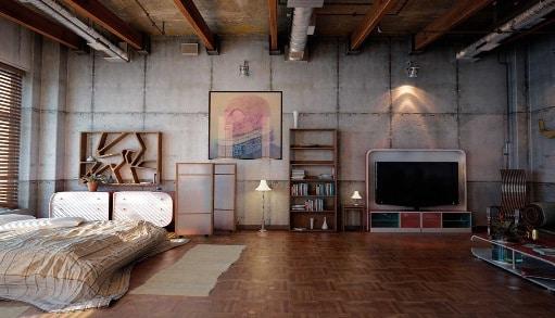 Camera da letto in stile industriale.