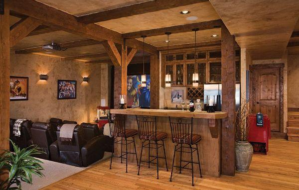 Una taverna country con bancone.