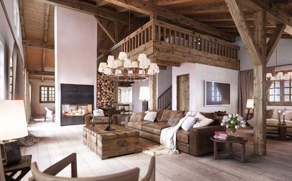 Una casa con un arredamento in stile rustico.