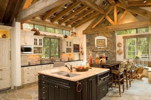 Una cucina in stile rustico.