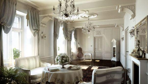 Una sala da pranzo in stile classico.