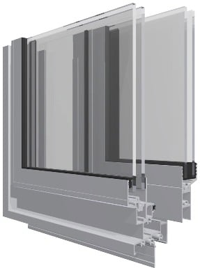 La sezione di una finestra scorrevole in alluminio.
