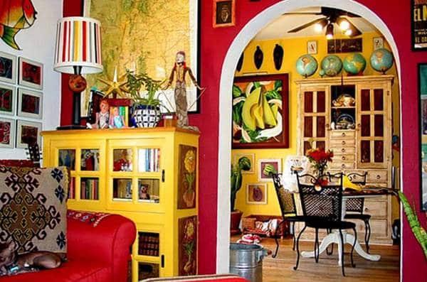 Interni di una casa in stile messicano.