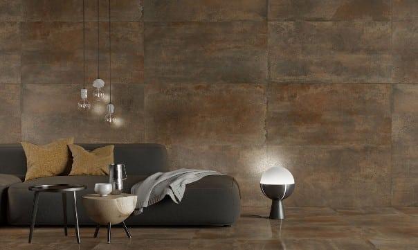 Una soluzione di design per una parete effetto cemento.