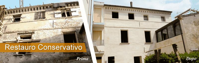 Foto di lavoro di restauro conservativo prima e dopo