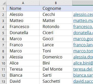 Lista di contatti su file excel