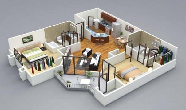 Il progetto in 3D per la ristrutturazione degli interni di una casa.