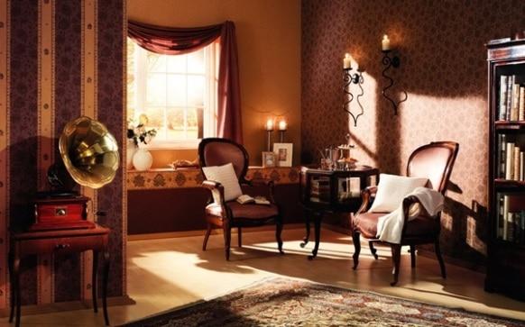 Un salotto in stile antico.