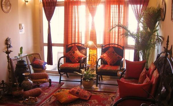 Un soggiorno in stile indiano.
