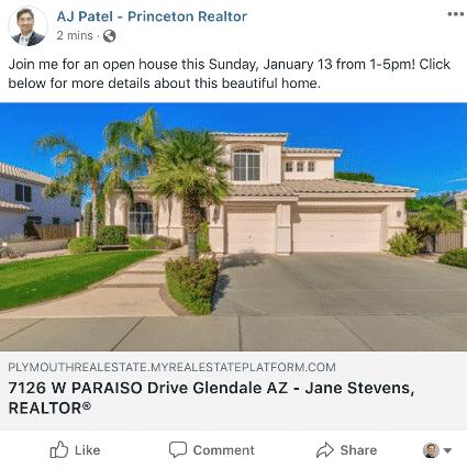 Post di facebook per promuovere un open house.