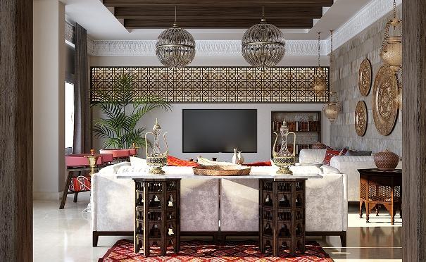 Il render di una sala da pranzo in stile arabo.