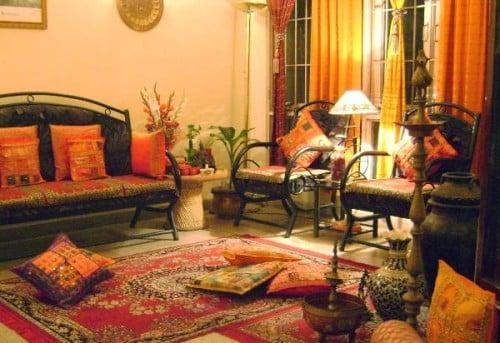 Il render di un salotto in stile arabo.