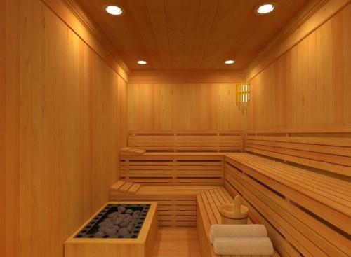 Gli interni di una sauna domestica.