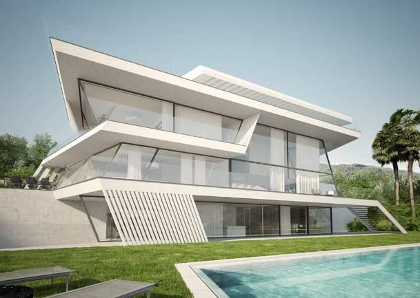Il render architettonico per una nuova costruzione.