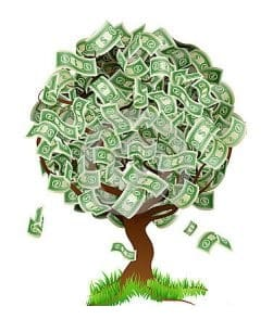 Albero con i soldi che crescono