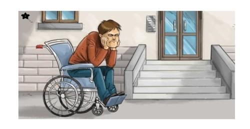 Immagine di persona invalida che è bloccata da una scala che funge da barriera architettonica