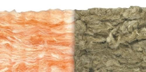 Immagine di lana roccia e lana di vetro a confronto