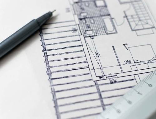 Disegno tecnico di un immobile in ristrutturazione