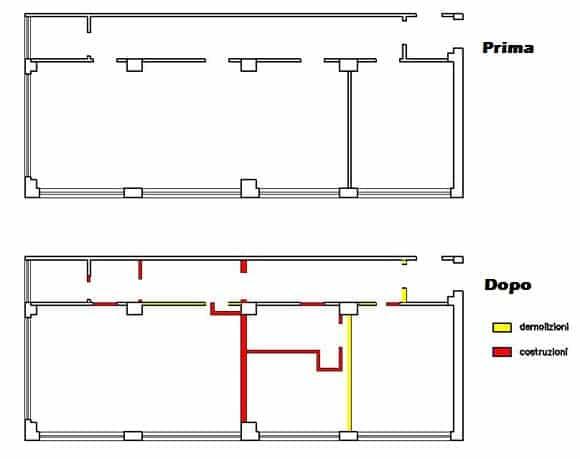 Esempio si disegno di lavori di frazionamento immobiliare prima e dopo