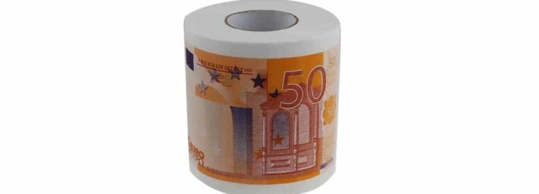 Rotolo di carta igienica con disegno delle 50 euro