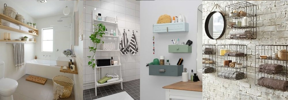 Alcuni esempi di mensole per il bagno