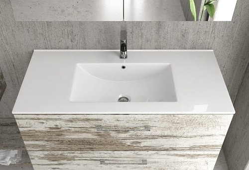 Moderno mobile da bagno sospeso con lavabo
