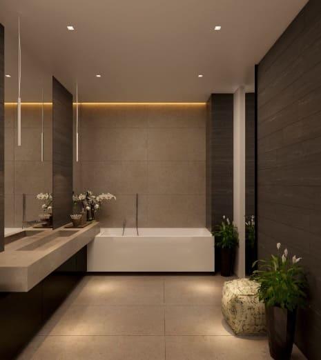 Un bagno cieco realizzato in stile moderno-contemporaneo.
