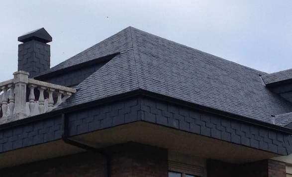 Un tetto realizzato in ardesia.